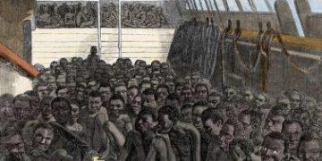 """1860en Estatu Batuetara joateko afrikarrek Estatu Batuetara joaten dira, """"Wildfire"""" itsasontziaren itsasontzian. © Costa / Leemage"""