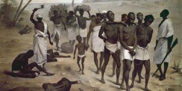 非洲奴隶的车队非洲国际协会为1878 Paris,Muséeduquai Branly展览带来的匿名画作