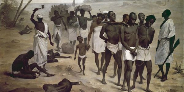 Конвой рабы в Африке Анонимная живопись, представленная африканской международной ассоциацией на выставке 1878 Paris, музыкальная дюна Branly